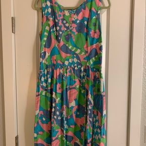 Vintage dress with cool patterned fabric.